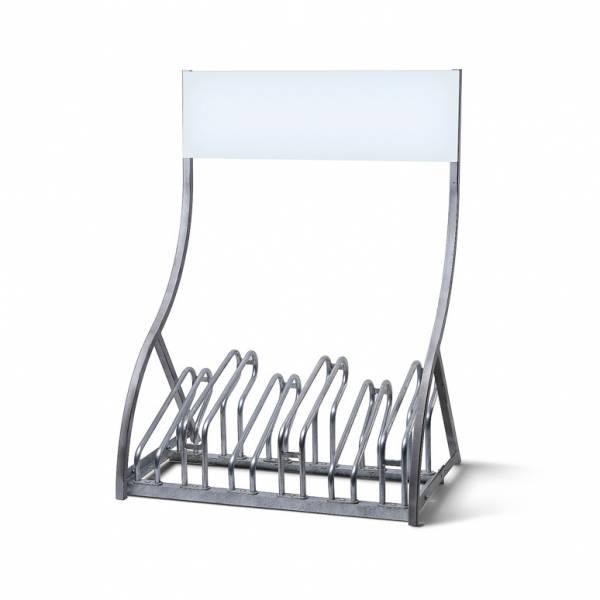 Porta biciclette in acciaio con Pannello per Logo - per 6 biciclette