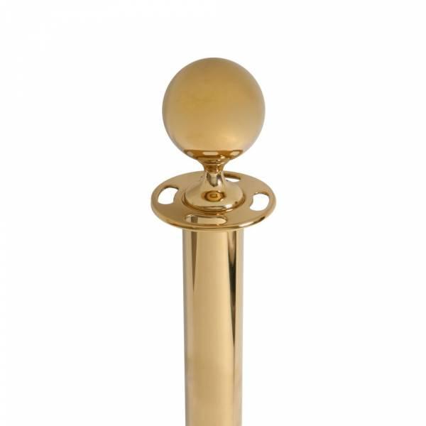 Colonnina segnapercorso oro lucido per cordone con cima a sfera