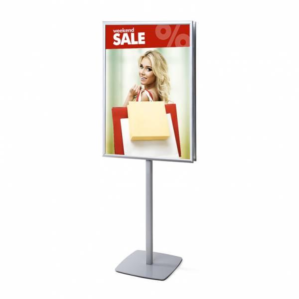 Porta Poster da terra Info Pole Bifacciale con cornici a scatto 70 x 100 cm 25mm e angoli vivi