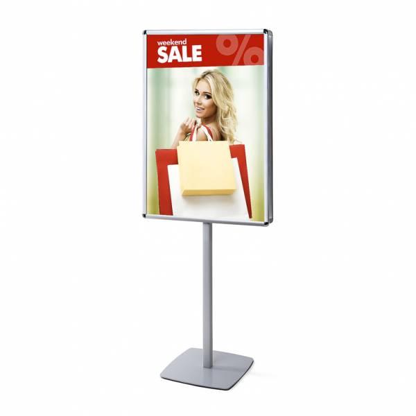 Porta Poster da terra Info Pole Bifacciale con cornici a scatto 70 x 100 cm 25mm e angoli tondi