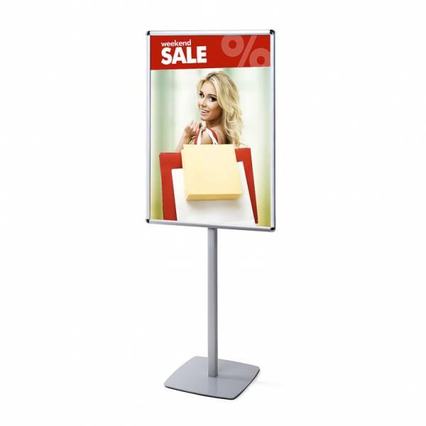 Porta Poster da terra Info Pole con cornice a scatto 70 x 100 cm 25mm e angoli tondi