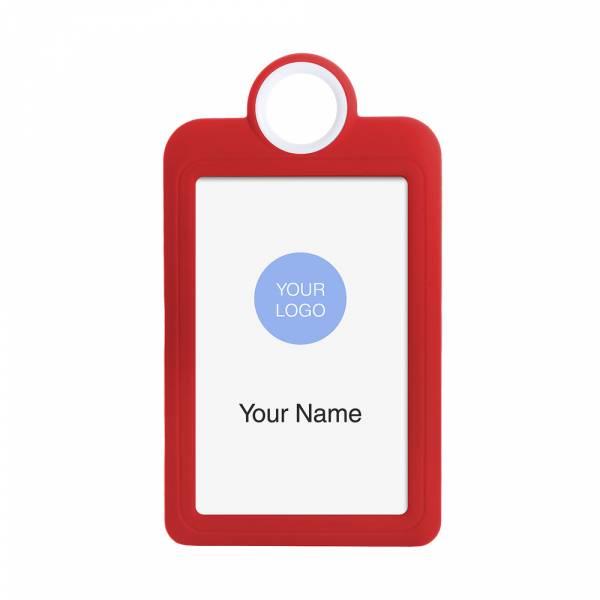 Porta badge colorato rosso verticale 54x85