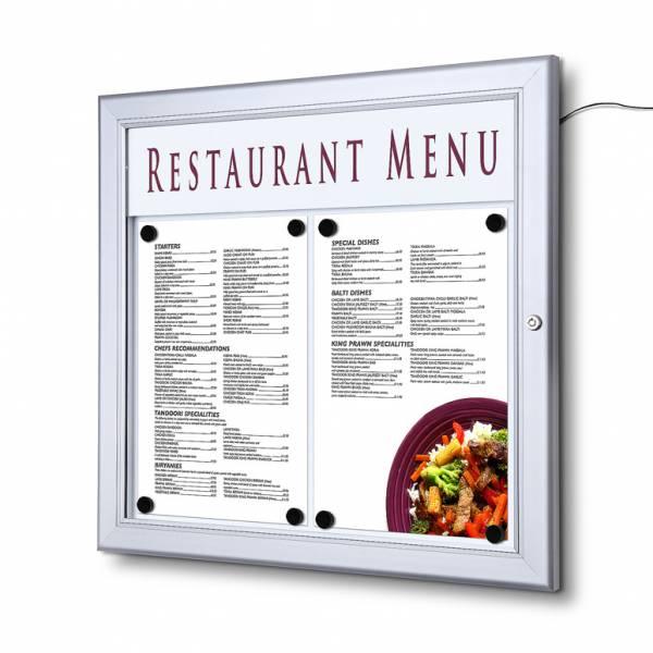 Bacheca porta menu da esterno 2xA4 con logo e luminosa a LED