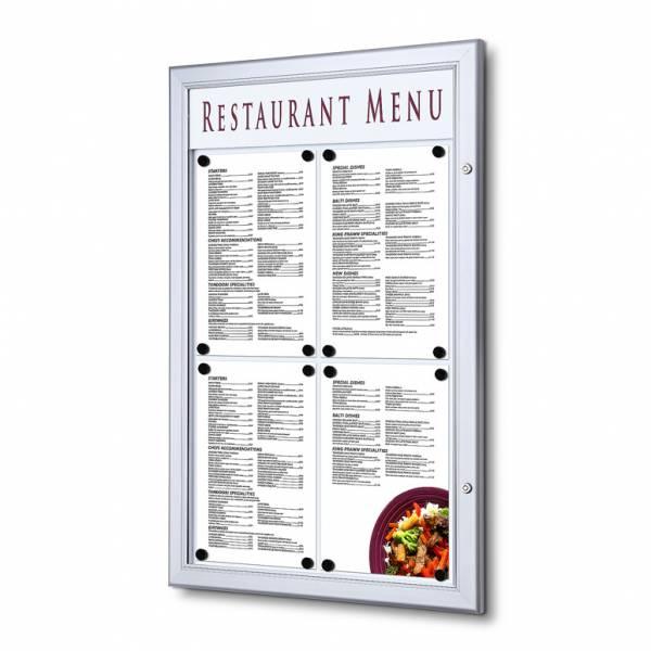 Bacheca porta menu da esterno 4xA4 con logo