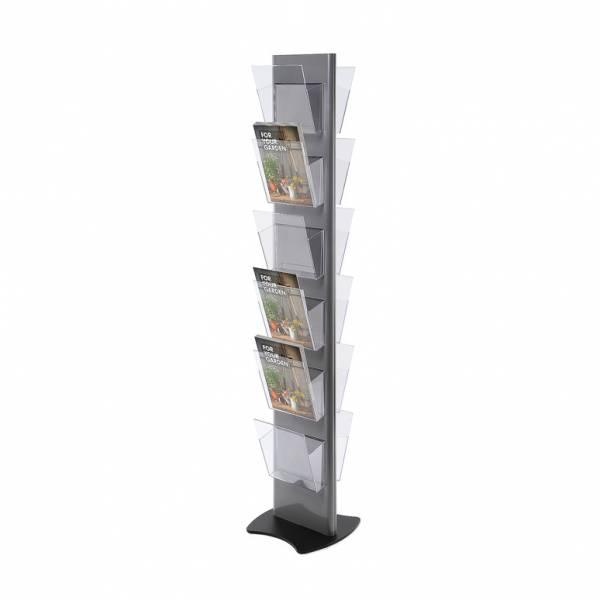 Portadepliant da terra Torre grigio con 12 tasche A4