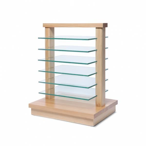 Piccolo Espositore da terra in Legno con ripiani in vetro, colore Marrone Chiaro