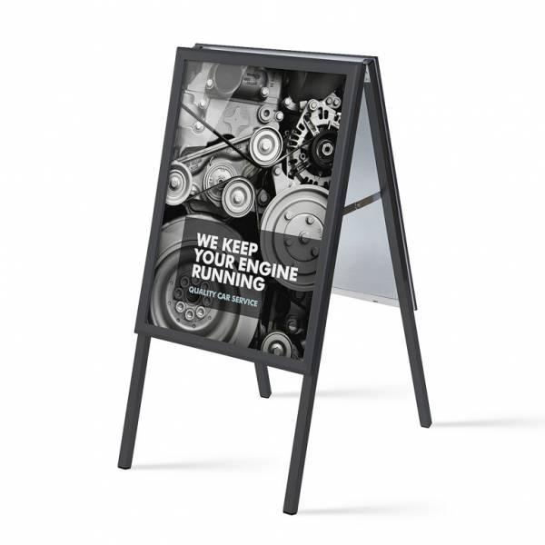 Cavalletto pubblicitario 50x70 colore nero, 32mm con fondo in metallo e angoli vivi