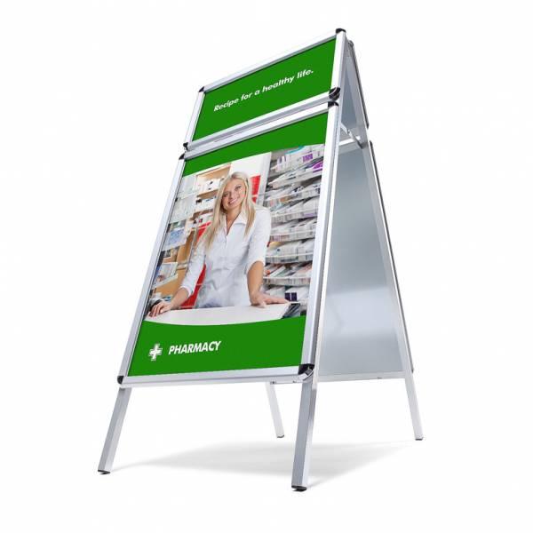 Cavalletto pubblicitario con top card per logo profilo 32 mm
